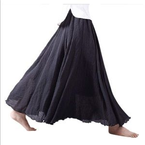 Dresses & Skirts - Cotton Linen Black Flowy Maxi Skirt